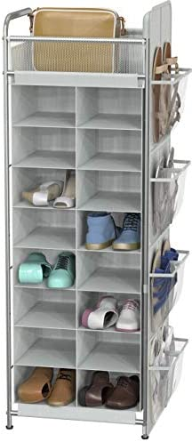 Simple Houseware Shoe Stand Tower Rack w side hanging bag 20 Pair Grey product image