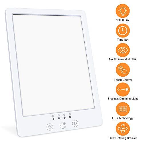 Tageslichtlampe 10000 Lux WELTEAYO LED Lichttherapie Lampe mit 60 Min Timer, Tragbar USB Tageslichtleuchte mit Variablem Standfuß, Flimmer- und UV-frei (JSK-20)