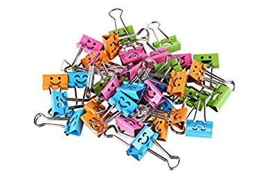 Smiling Binder Clips ,19mm ,Assorted Colors ,40 Clips per Tub