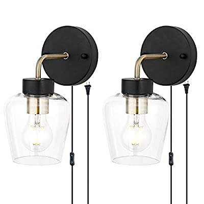 TeHenoo Minimalist Plug in Wall Sconce Set of 2, Glass Shade Wall Light Fixture Industrial Edison Wall Lamps with ON/Off Cord Retro Wall Sconce for Bedroom,Stair,Reading,Overhead,Farmhouse E26 Base