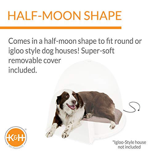 """K&H Pet Products Lectro-Soft Igloo Style Dog Bed, Tan, 60W/Large/17.5"""" x 30"""""""