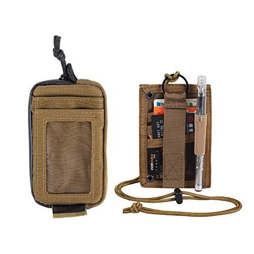 OneTigris Tactical ID Card Holder Hook & Front Pocket Mini Wallet (Coyote Brown)