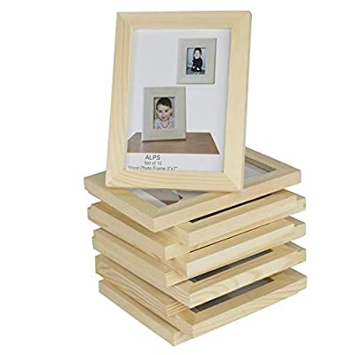 Wallniture DIY Projects Unfinished Solid Crafting Wood Picture Frames for 5x7 Inch Pictures Set of 10
