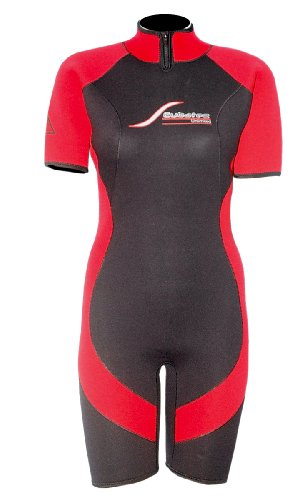 Scubatec 4mm Damen Shorty, schwarz-rot, 44 (2XL)