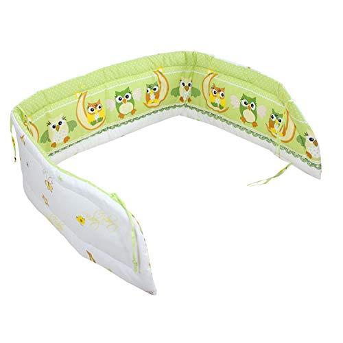 TupTam Protector para Cama de Bebé Acolchado, Buhos Verde, 210x30cm (Cuna 140x70)