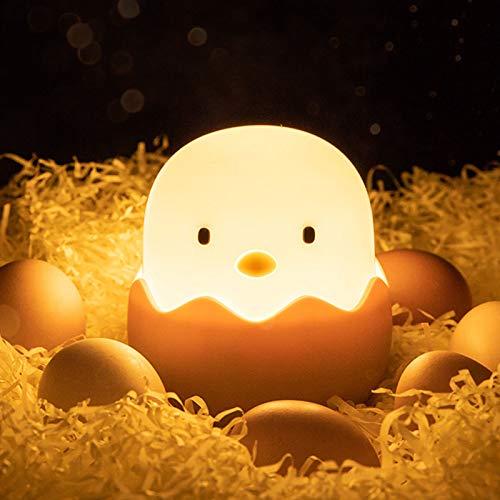 otutun Luz Nocturna Bebé , Luz Nocturna Infantil Silicona Pollito USB Recargable con Control Tátil , LED Lámpara Infantil para Habitación Dormitorio Sala [Clase de eficiencia energética A]