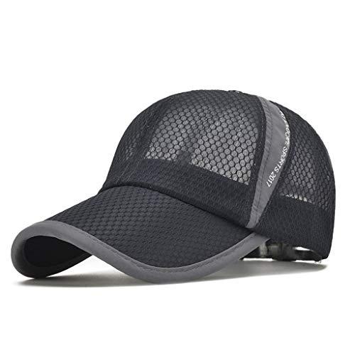 MYBOON Gorra de béisbol de Malla de Secado rápido de Verano Unisex, sólida, Deportiva al Aire Libre, Ajustable, Gorra de béisbol, Gris Oscuro