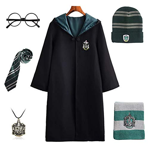 FStory&Winyee Harry Potter Kostüm Kinder Erwachsene Umhang Gryffindor Hufflepuff Ravenclaw Slytherin Fanartikel Cosplay Outfit Set Zubehör Halloween Fasching