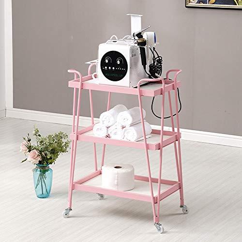 HF Beauty Trolley met wieltjes, 3-delige mobiele gereedschapswagen voor schoonheidssalon fysiotherapie-shop Pet Shop 50 * 32 * 81 cm roze