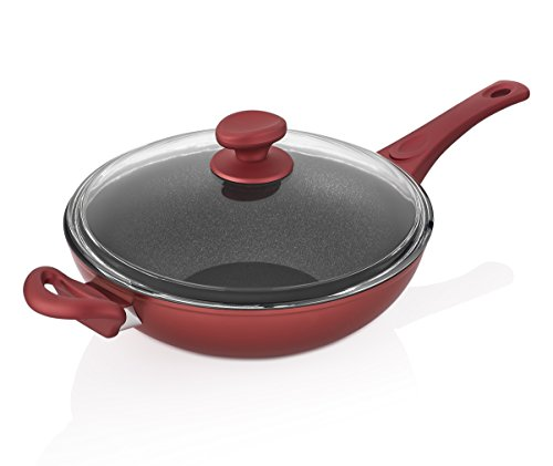 Saflon Titanium Nonstick 11 Inch Wok and Stir Fry Pan with Glass Lid Forged Aluminum with PFOA Free Scratch Resistant Red