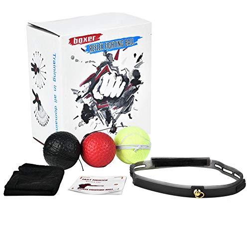Bicaquu Confezione da 3 Gel di Silice Lotta Contro La Palla Reflex Boxing React Training Boxer Speed Punch con Fascia per La Testa