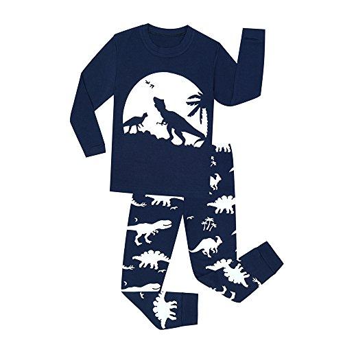 MOLYHUA Jungen Dinosaurier Fußball Astronaut Schlafanzug für Mädchen Baumwolle Kinder Langarm Pyjama Glow in The Dark 92 98 104 110 116 122 128