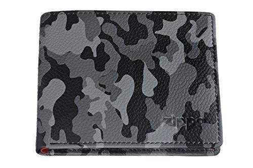 Zippo Leather bi fold wallet Portamonete 11 centimeters Grigio (Grey Camouflage)
