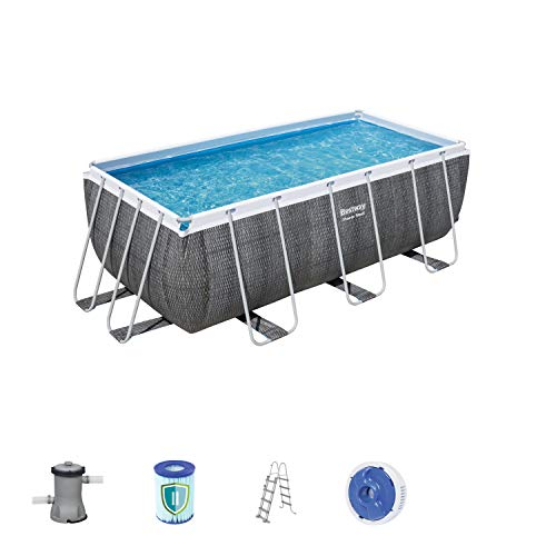 Bestway Power Steel Deluxe-Pool-Set, eckig, mit Filterpumpe & Sicherheitsleiter 412 x 201 x 122 cm
