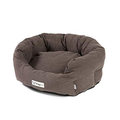 JAMAXX Ovales Hundebett mit Komfort-Füllung, Vintage Canvas Stoff, Kissen-Bezug waschbar 30°C, Hunde-Korb Körbchen Bezug Farben im modernen Vintage-Canvas Design, PDB2087 (S) 60x50 mud