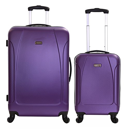 Karabar Luggage Set of 2 Hard ABS Suitcases Carry On and Large 4 Wheels, Evora Purple