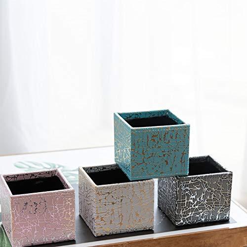 GETSO Ice Rissblumentopf Kreative Platz Planter Saftige Orchid Bonsai Leder Holz Kunststoff-Behälter-Speicher-Cache Pot Home Decor: China, rosa