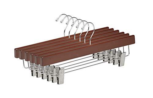 TODO HOGAR - Percha para Falda Color Caoba 36cm - Percha de Madera con Pinzas de Metal y Gancho de Acero Resistente (Pack de 6, 25 y 12 Und)