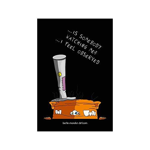 Schwarzer Kühlschrankmagnet - Magnetfolie mit hochwertigem farbigen Druck. Dein Supermagnet mit coolem Monster-Motiv von BERLIN-monster-ART - Orange