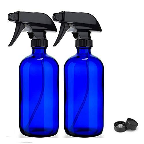 Bleu cobalt 16 oz Vaporisateurs-verre Boston Rechargeables bouteille ronde with Trigger Mist Pulvérisateur ET-pour le paramêtres volet Huiles Essentielles, Produits de nettoyage, Aromathérapie (2)