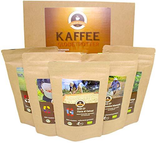 Kaffee Globetrotter - Bio-Box 5 Mal 100g Gourmet Bio-Kaffee - Ganze Bohnen - für Kaffee-Vollautomat, Kaffeemühle, Handmühle - Kaffee Weltreise als Geschenk für Weihnachten, Geburtstag, Probierset