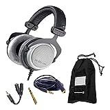 Beyerdynamic DT 880 Pro 250 Ohm Semi-Open Studio Mixing Headphones Bundle -Includes- Soft Case, Headphone Splitter, and More