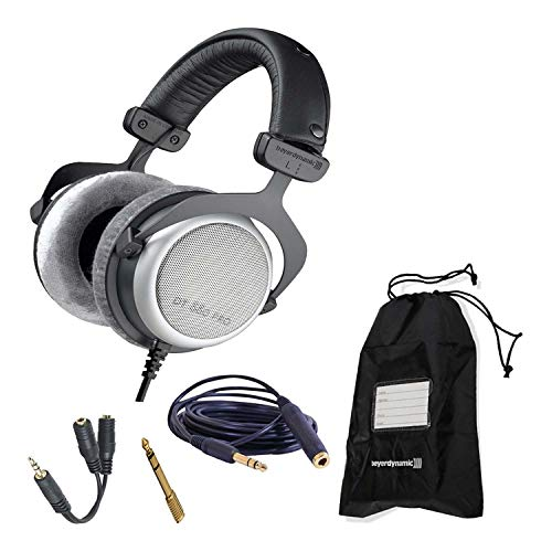 Beyerdynamic DT 880 Pro 250 Ohm Semi-Open Studio Mixing Headphones Bundle -Includes- Soft Case, Headphone Splitter, and More