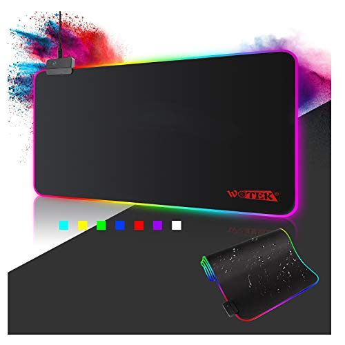 Alfombrilla de Ratón RGB, (800×300×4mm) 7 Colores con 14 Modos de Luz , Alfombrilla Gaming Extra Grande Base de Goma Antideslizante y Superficie Suave Resistente al Agua para Gamers, PC y Portátil