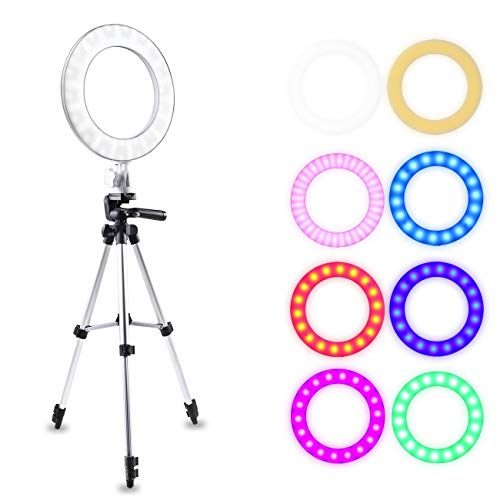 ATUTEN Anillo de Luz LED para Maquillaje, 10'' Kit de Luz Anular Fotografia Regulable 16W 8 Colores 3200K-7000K RGB Luz Anillo Selfie con Soporte de Trípode para Youtube Video en Vivo y Grabación