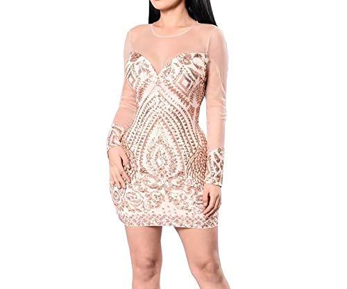 Carolina Vega Vestidos Sexys Casuales Cortos Dorados De Fiesta Ropa De Moda para Mujer 2019 De Noche Elegantes VE0084 (M) Gold