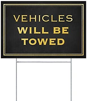 27x18 CGSignLab Classic Gold Double-Sided Weather-Resistant Yard Sign 5-Pack Vehicles Will Be Towed