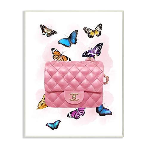 Stupell Industries Ziwei Li Art Wandschild mit bunten Schmetterlingen und Clutch, 33 x 48 cm, Pink