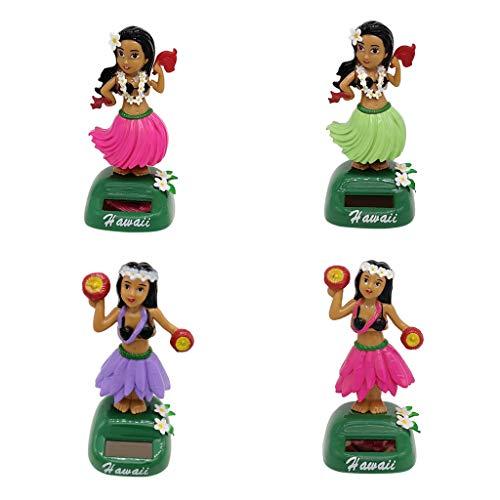 B Blesiya 4stk. Hawaii Hula Girl Wackelfigur Solarfigur Auto Figur, Geschenk für Kinder und Erwachsene