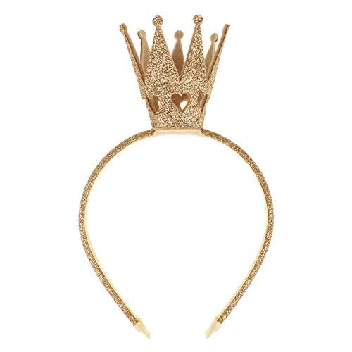 inhzoy Kinder Mädchen Prinzessin Krone Haarreif Königin Haarband Kostüm Accessoires für Party Weihnachten Fasching Karneval Gold_A One Size