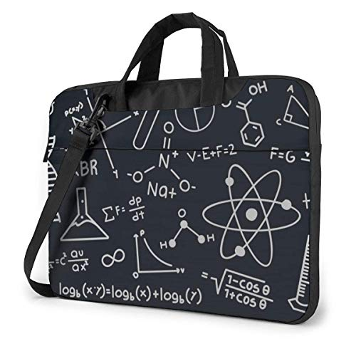 Hdadwy Adults Student Laptop Bag with 2 Pocket Protective Notebook Computer Protective Cover Anti-Collision Anti-Scratch Handbag for School College Math Chemistry Biological Elements and Formula 14inc