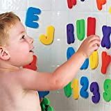 36Pcs Baby Bath Toys Kids Soft Letter Number Puzzle Shower Water Bathroom Bathtub Beach Educational Suction Up Bathing Toy