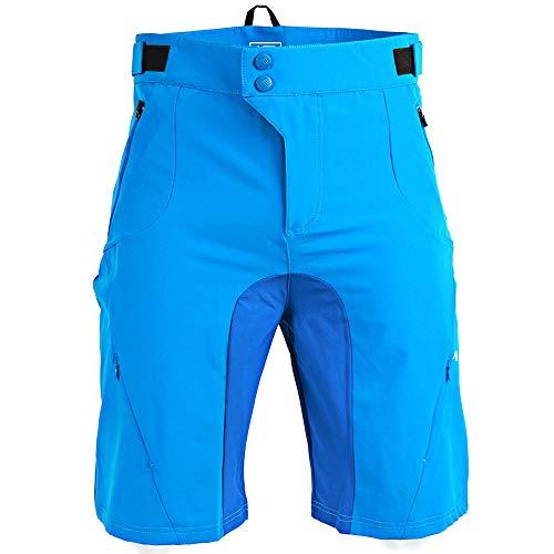 LXZH Culotte Ciclismo Hombre, Pantalones Cortos MTB Bici Spinning, Ropa Ciclismo Pantalones Secado Rápido Transpirable Impermeable,Azul,S