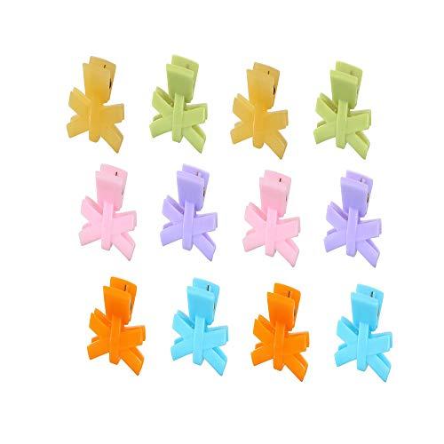 12 pcs pinces à cheveux Mini Multi Coloré Plastique Design géométrique Papillon Cheveux Mâchoire Clips Convient pour Femmes coiffure conception