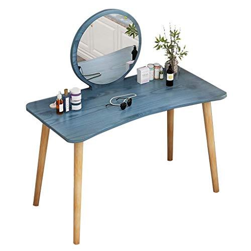 Renovation House Tocador Mesa de tocador Mesa de tocador con espejo redondo Tocador y mesa de escritura Tablero ancho Fácil de instalar para el escritorio de la cómoda del dormitorio (Color: Negro)