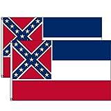 Allteemor Mississippi Flagge 3x5 Ft Haus Banner Ösen Super Polyester Nylon Mississippi State Flags Outdoor Dura Flagge Banner (2 Stück)