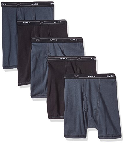 Hanes 5-Pack Men's X-Temp Comfort Cool Boxer Briefs, Black/Gray, Large