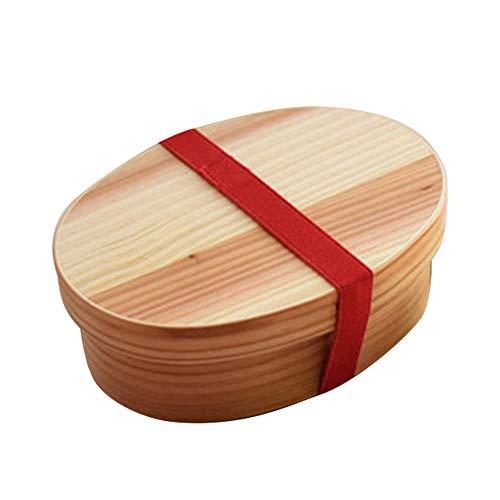Boîte à Lunch Réutilisable Ovale de Style Japonais en Bois Naturel Boîte à Bento en Bois, Fruits, Sushi, Récipient de Collation pour Adultes, Enfants, Bureau, Ecole