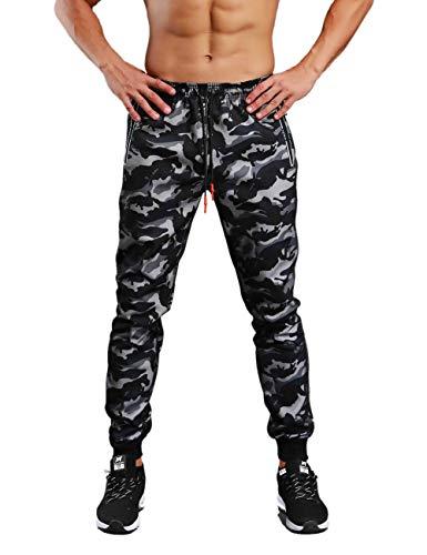 palglg Hombres Deportes Pantalones Capacitación Pants Atlético Jogger Salón Camo Aptitud física Trousers Camuflaje Negro L
