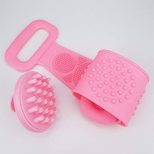 Firefly-web 2Pcs Best back scrubber hair scalp massager shampoo Brush set,Dandruff cleaning Bath body shower brush,Back scrubber exfoliating sponge pad,Level up your bathand cleaning experience(Pink)