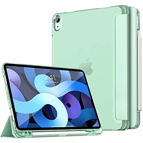 Dadanism iPad Air 4th Generation Case 2020 iPad 10.9 Case with Apple Pencil Holder, Soft TPU Translucent Frosted Back Cover Smart Shell for iPad Air (4th Gen) 10.9' 2020, Auto Wake/Sleep, Green