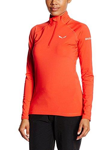 Salewa Ortles Cubic Pl W L/S Tee - T-Shirt à Manches Longues pour Femme, Couleur Rouge, Taille 44/38