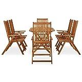 Best Choice Products Juego de bistró de Madera de Teca de 7 Piezas, Muebles de Patio Plegables para Patio Trasero, balcón, terraza con 6 sillas, Mesa de Centro Ovalada, Acabado de Teca - Natural