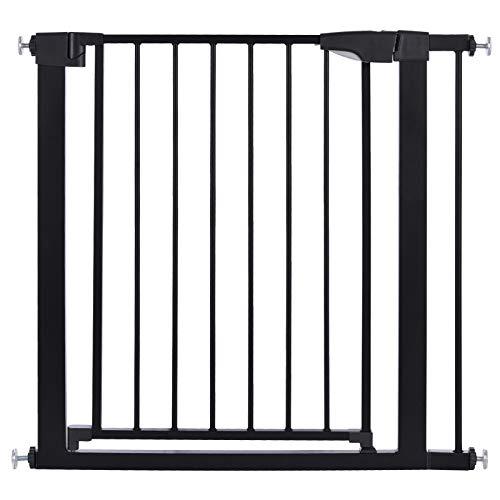 Cancelletto per scale, cancello 82-89 cm per bambini, cani e gatti, cancello per scale a chiusura automatica, serratura magnetica, fermo a 90°, con 1 prolunga, nero