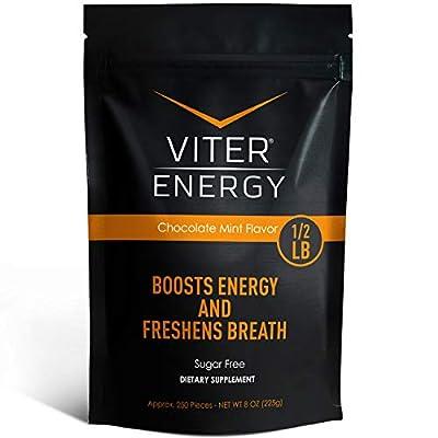 Viter Energy Caffeinated Mints - 40mg Caffeine & B-Vitamins Per Powerful Sugar Free Mint. Boost Energy, Focus & Fresh Breath. 2 Pieces Replace 1 Coffee (Chocolate Mint, 1/2 LB Bulk (Mints Only))