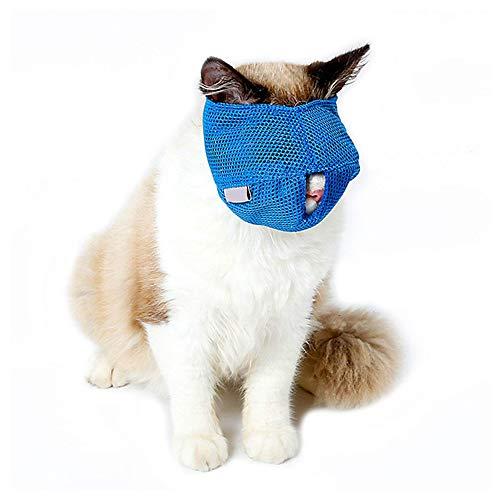 ASOCEA Katzen-Maulkorb, atmungsaktiv, Mesh-Gesichtsmaske mit verstellbarem Magic Aufkleber zur Fellpflege, verhindert Kratzer, Beißschutz, Kauen